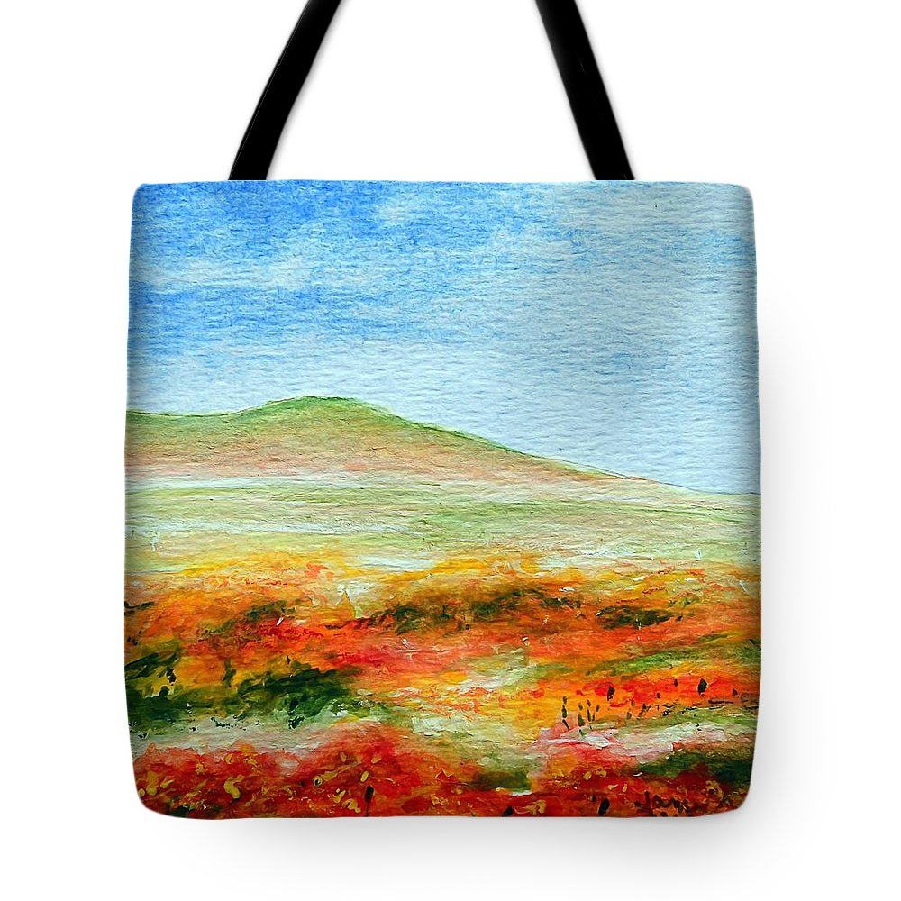 Poppy Tote Bag featuring the painting Field Of Poppies by Jamie Frier