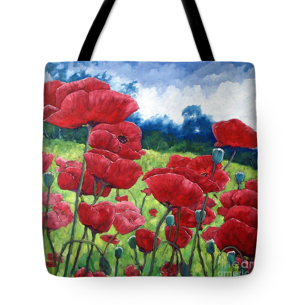 Poppies Tote Bag featuring the painting Field Of Poppies by Richard T Pranke