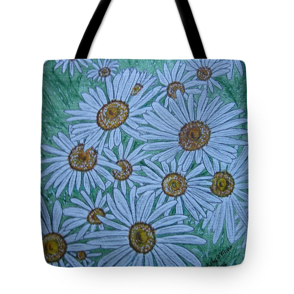 Field Tote Bag featuring the painting Field Of Wild Daisies by Kathy Marrs Chandler