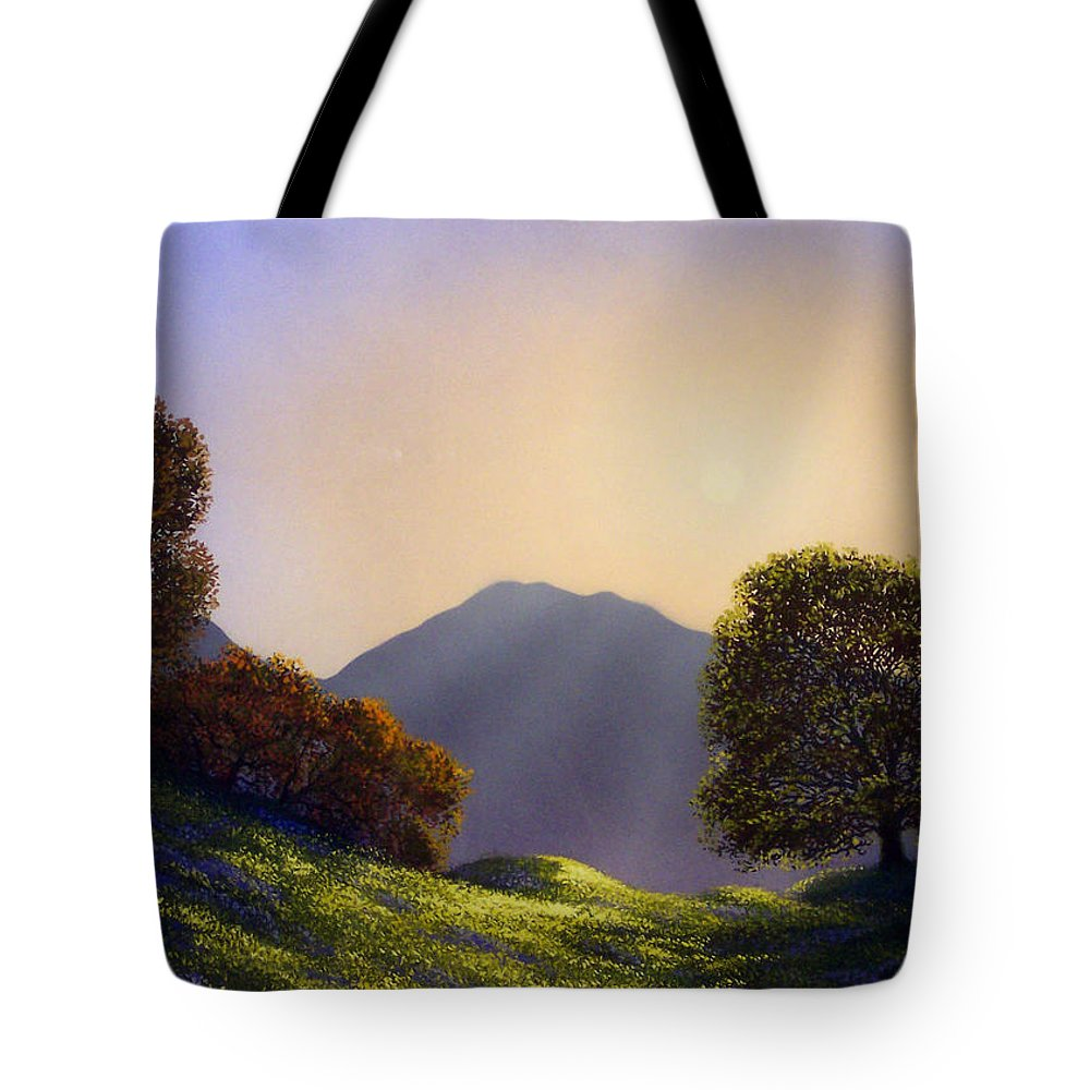 Landscape Tote Bag featuring the painting Field Of Wildflowers by Frank Wilson