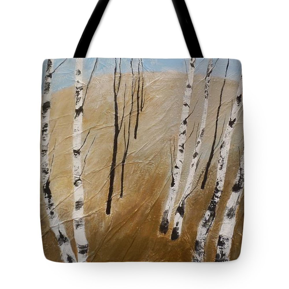 Field Tote Bag featuring the painting Field With Birches by Maria Karalyos