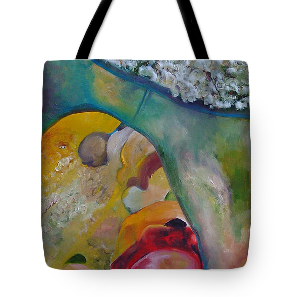 Cotton Tote Bag featuring the painting Fields Of Cotton by Peggy Blood