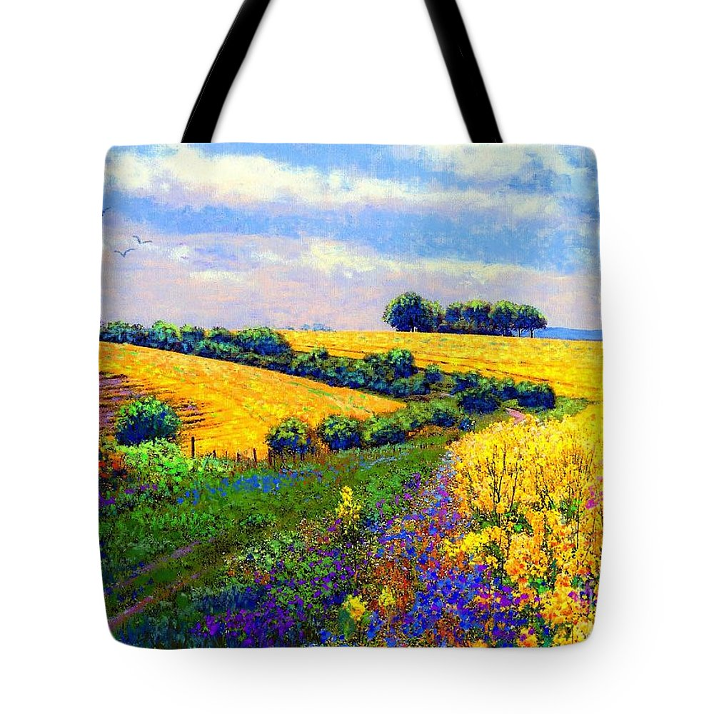 Sun Tote Bag featuring the painting Fields Of Gold by Jane Small
