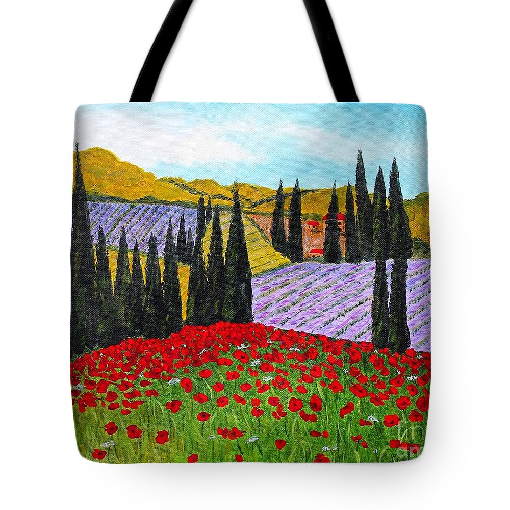 Fields Of Memories Tote Bag featuring the painting Fields Of Memories by Barbara Griffin
