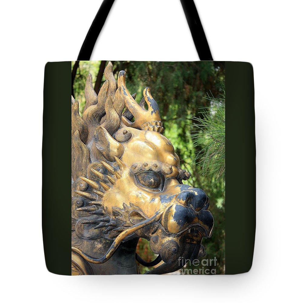 Foo Dog Tote Bag featuring the photograph Fierce Foo Dog Face by Carol Groenen