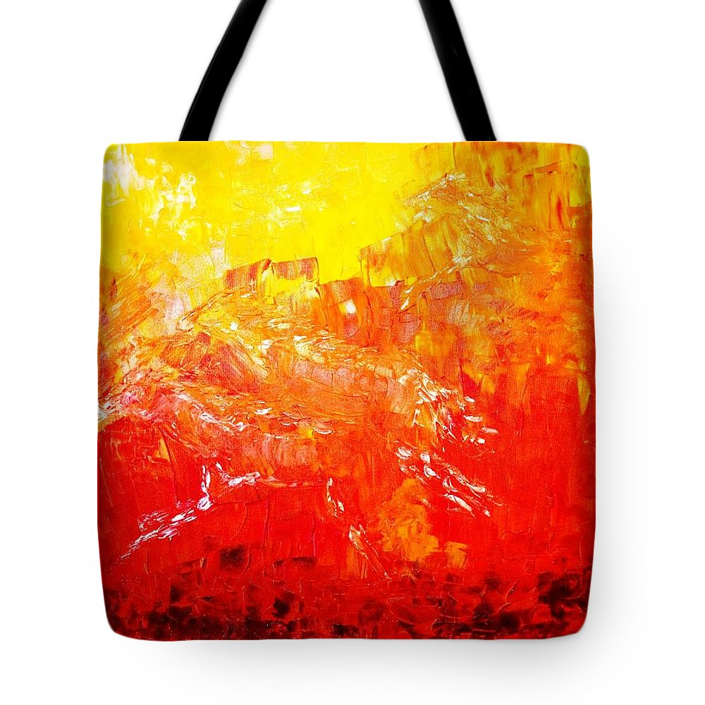 Contemporary Abstract Tote Bag featuring the painting Fierry Horses by Piety Dsilva