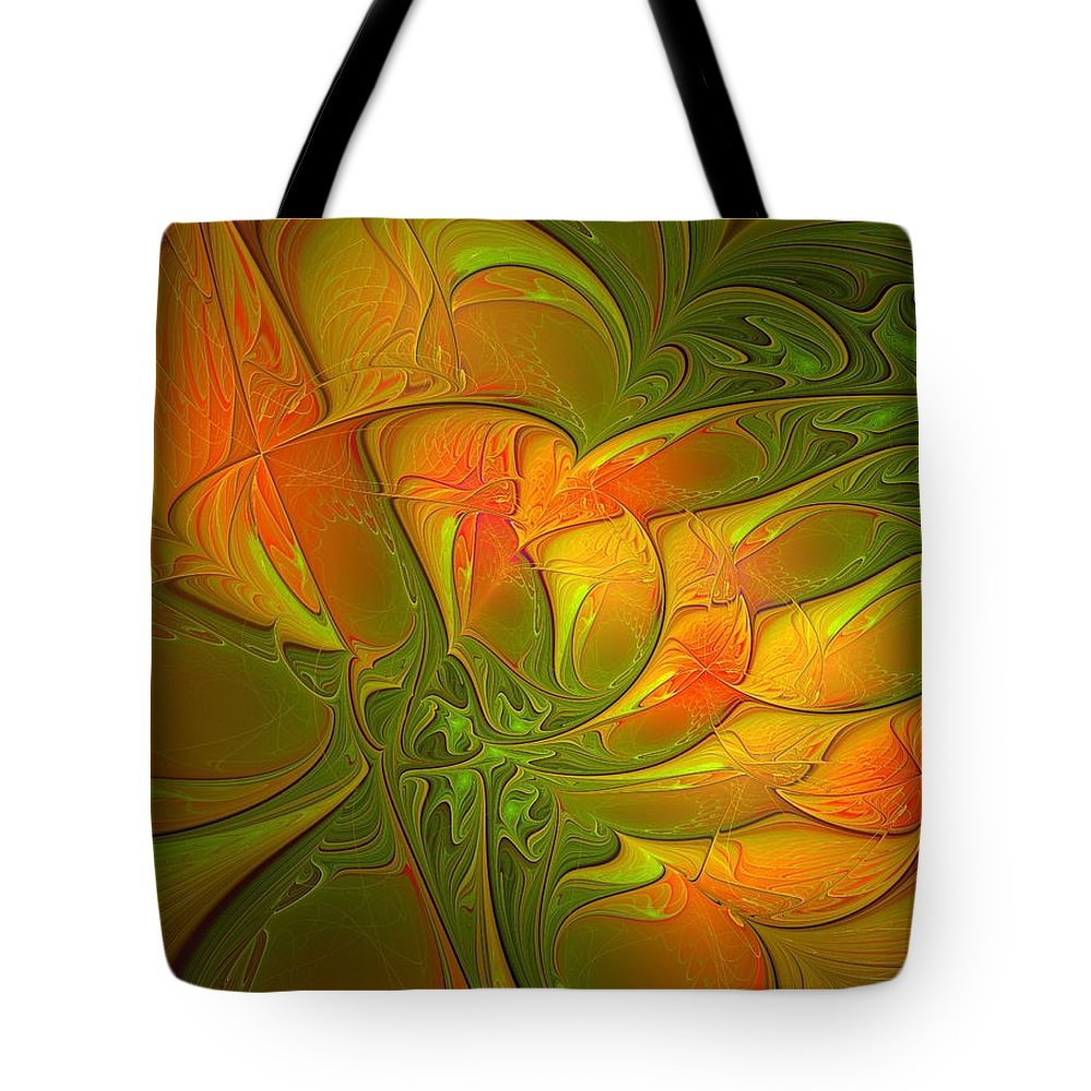 Digital Art Tote Bag featuring the digital art Fiery Glow by Amanda Moore