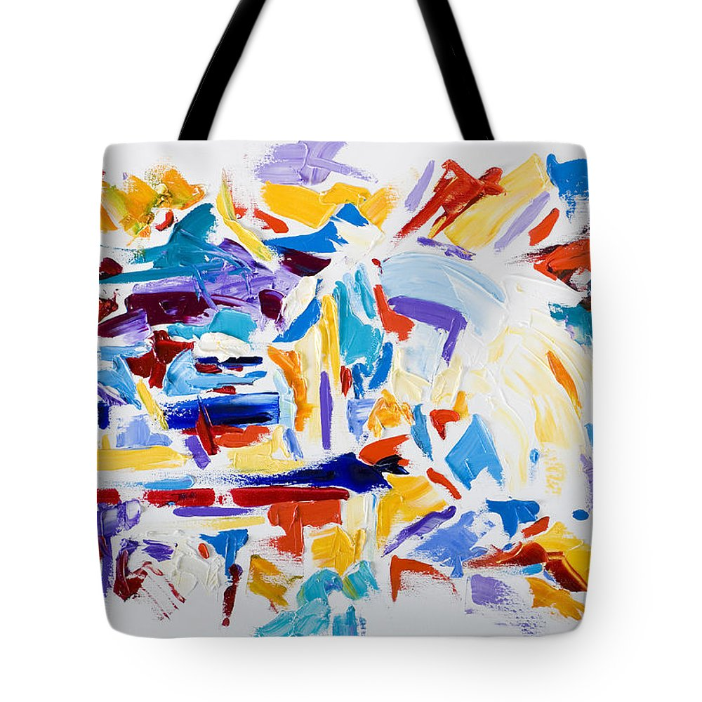 Abstract Yellow Tote Bag featuring the painting Fiesta by Shannon Grissom