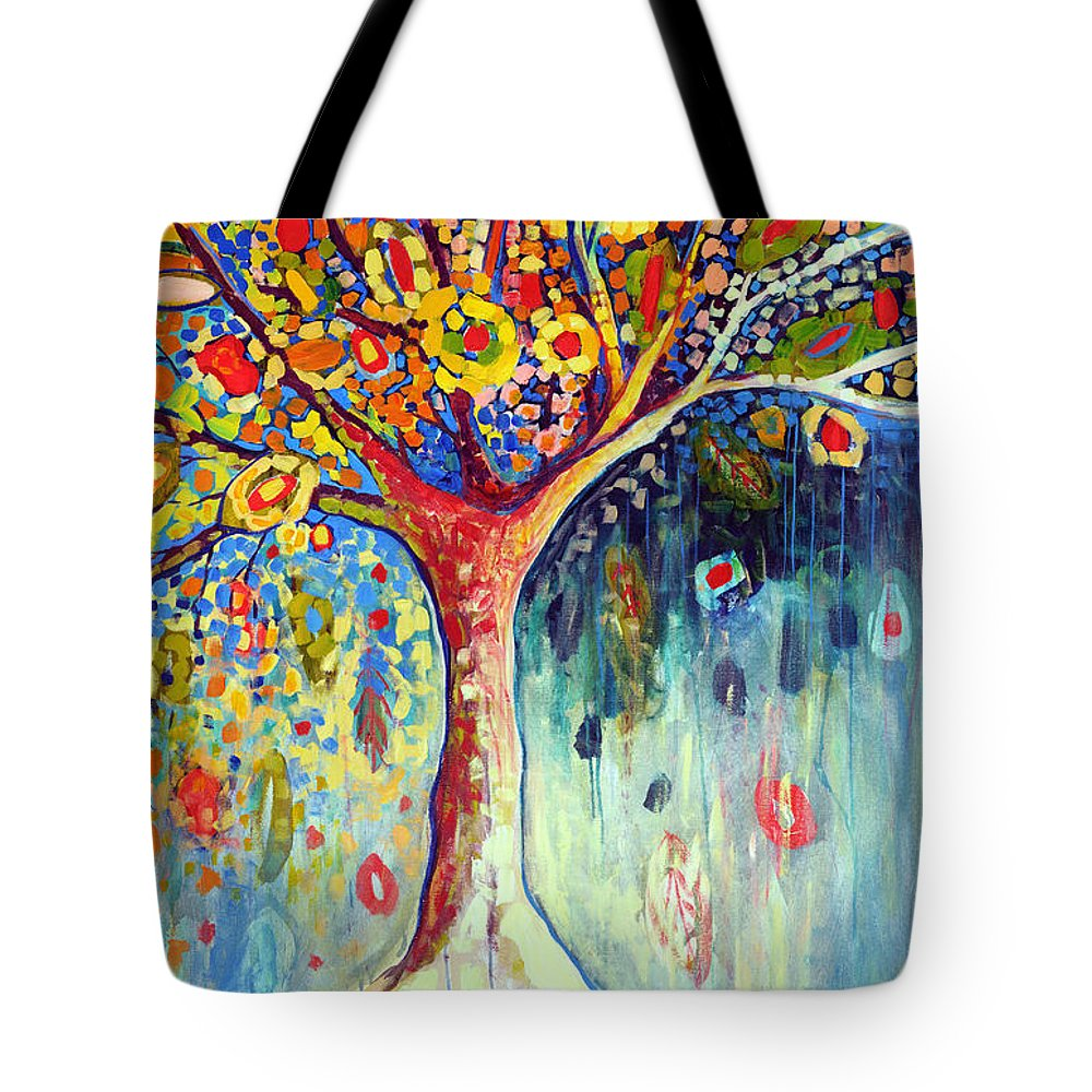 Tree Tote Bag featuring the painting Fiesta Tree by Jennifer Lommers
