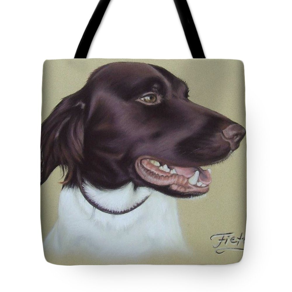 Dog Tote Bag featuring the pastel Fiete by Nicole Zeug