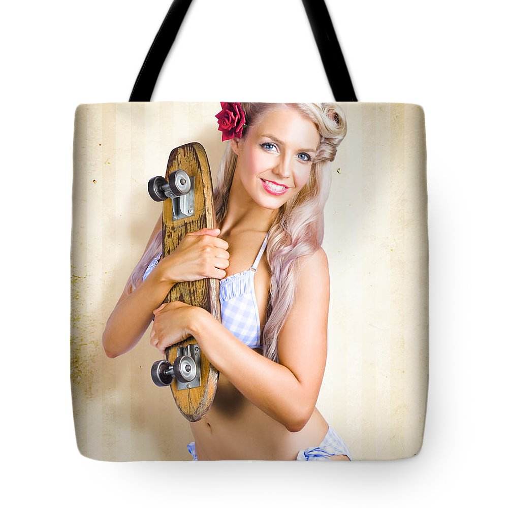 50s Tote Bag featuring the photograph Fifties And Sixties Australian Surf Skate Culture by Jorgo Photography - Wall Art Gallery