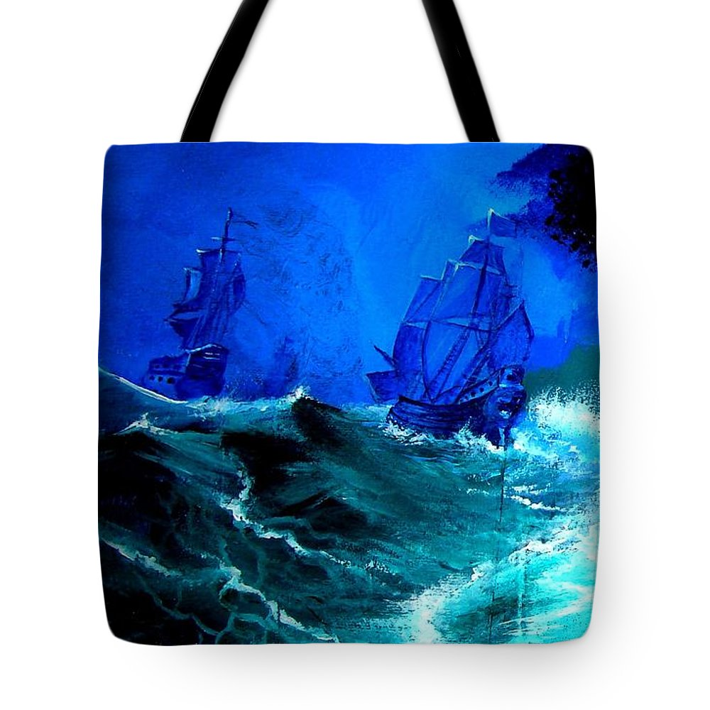 Seascape Tote Bag featuring the painting Fight For Life by Glory Fraulein Wolfe