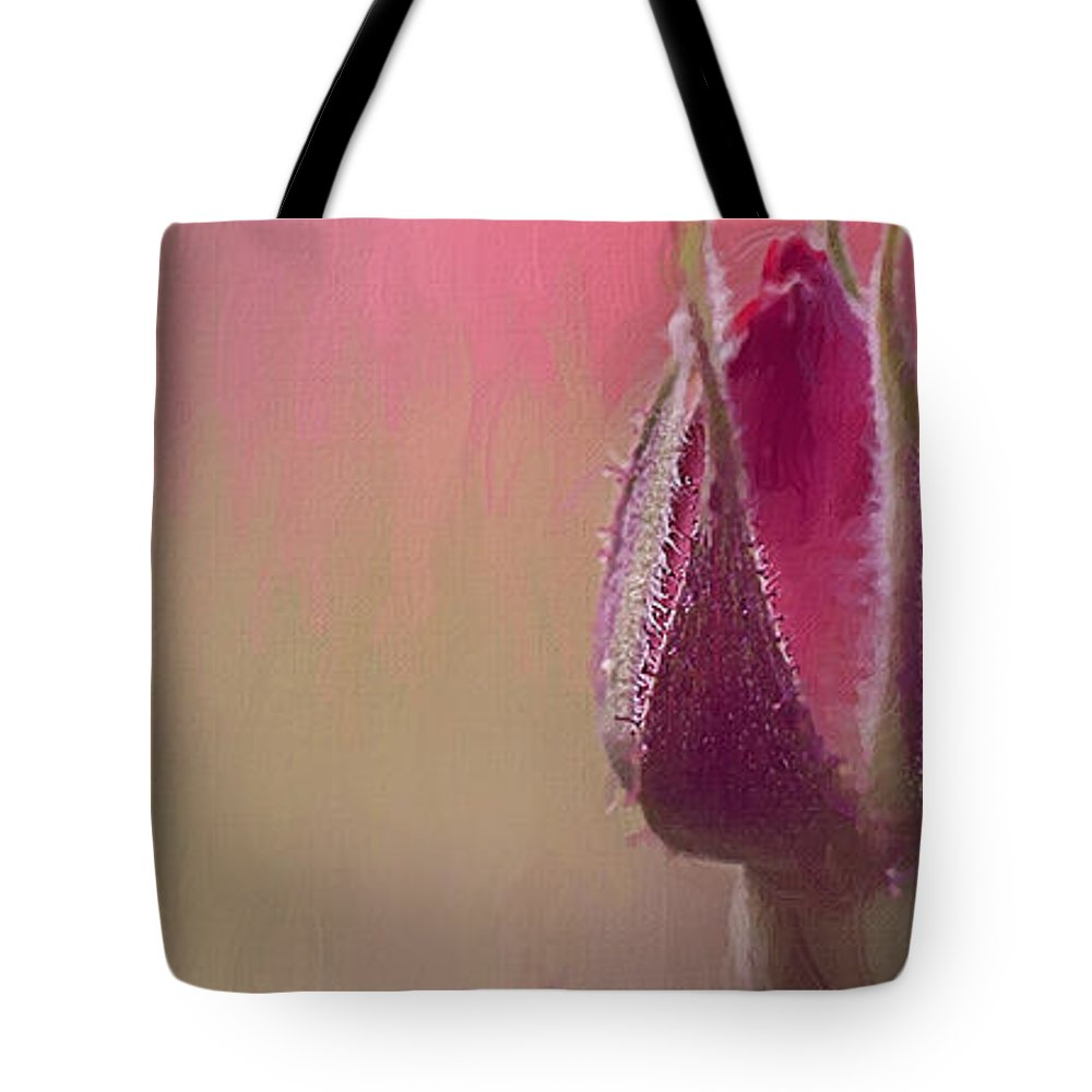 Pink Rose Tote Bag featuring the digital art Fight For Your Glory by Belinda Rose