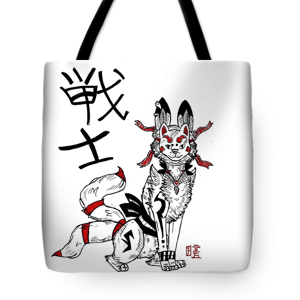 Art & Collectibles Tote Bag featuring the drawing Fighter Kitsune by AmaSepia Gittens-Jones' Fox And Fantasy Designs