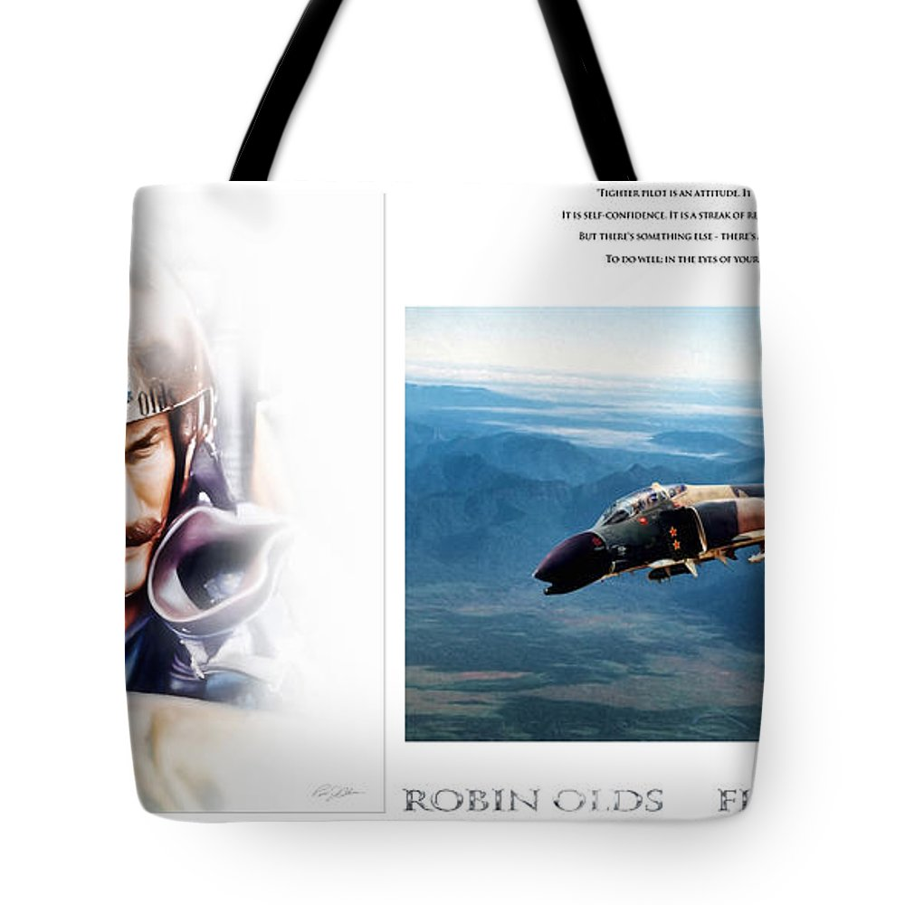 Aviation Tote Bag featuring the digital art Robin Olds Fighter Pilot by Peter Chilelli