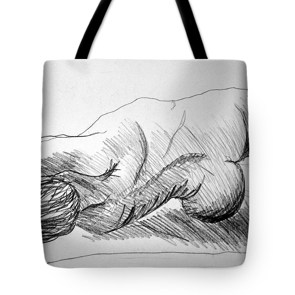 Figure Tote Bag featuring the drawing Figure Drawing 2 by Nancy Mueller