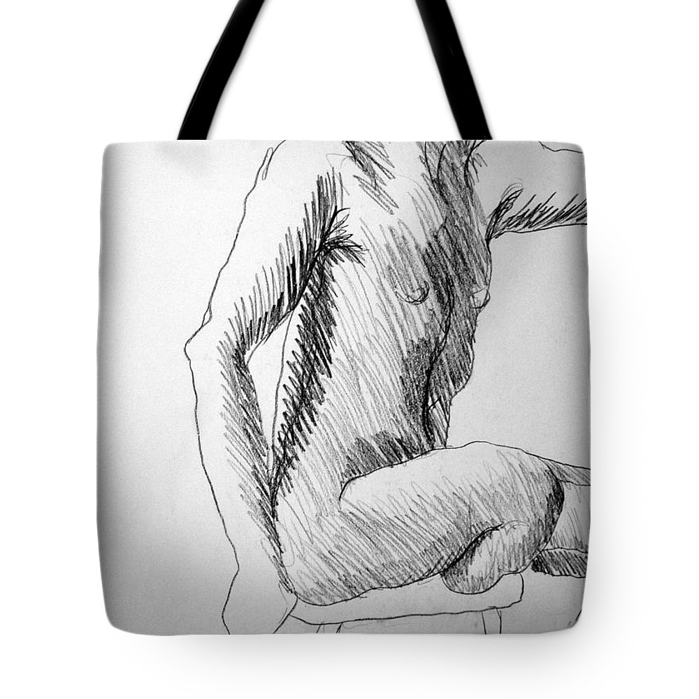 Figure Tote Bag featuring the drawing Figure Drawing 3 by Nancy Mueller