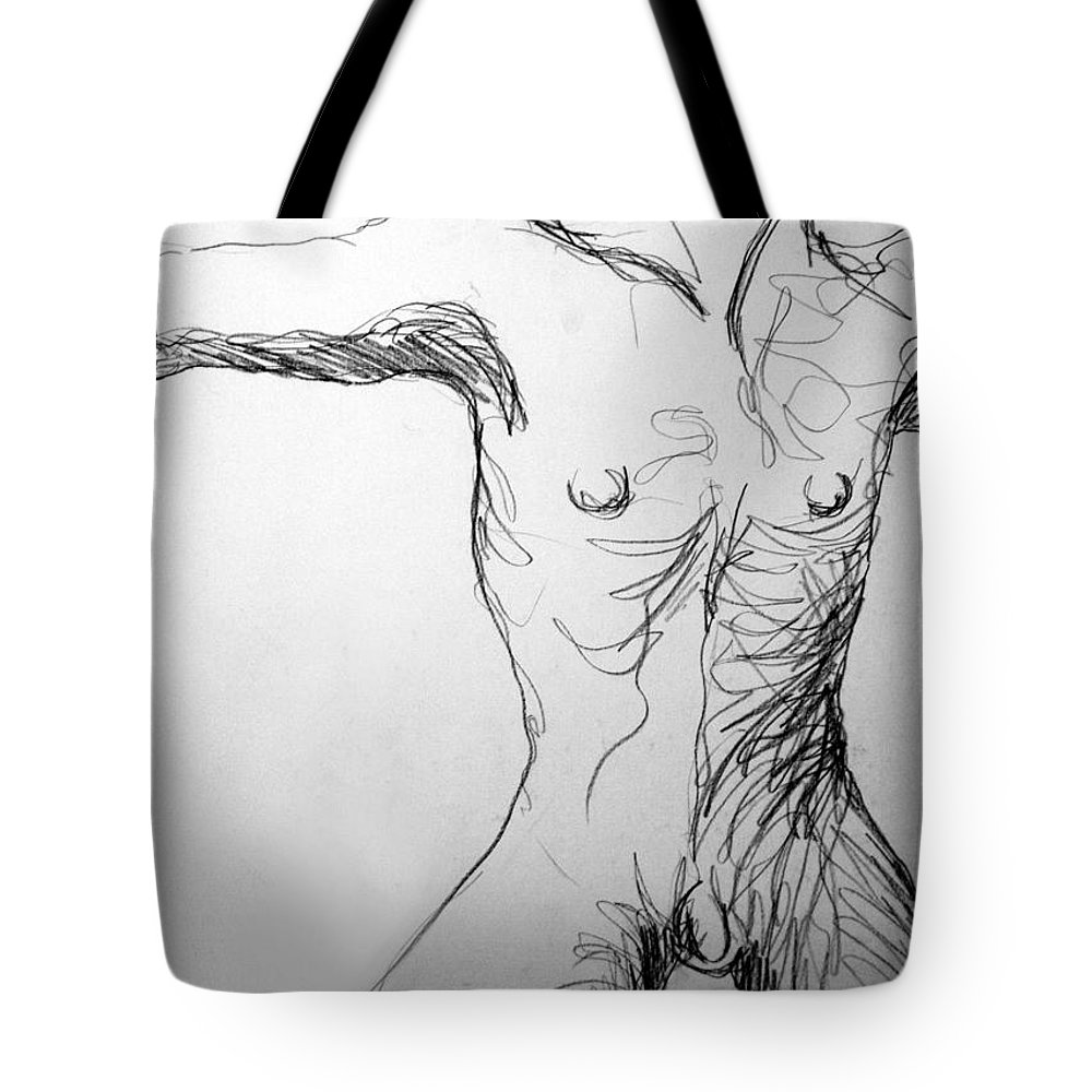 Figure Tote Bag featuring the drawing Figure Drawing 5 by Nancy Mueller