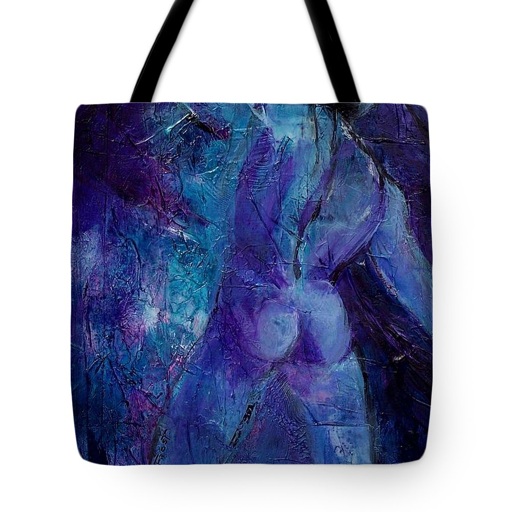 Abstract Expressionism Tote Bag featuring the painting Figure Study 011 by Donna Frost