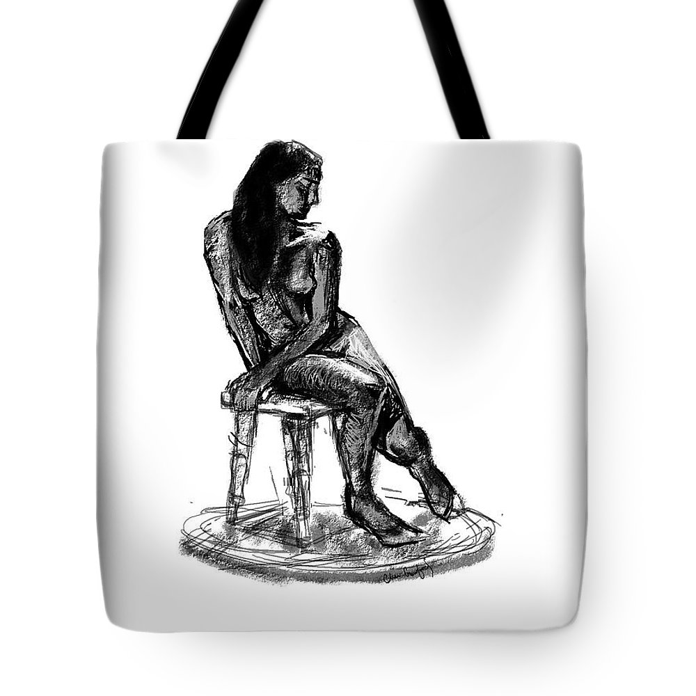 Seated Figure Tote Bag featuring the digital art Figure Study3 by Cheri Crawford