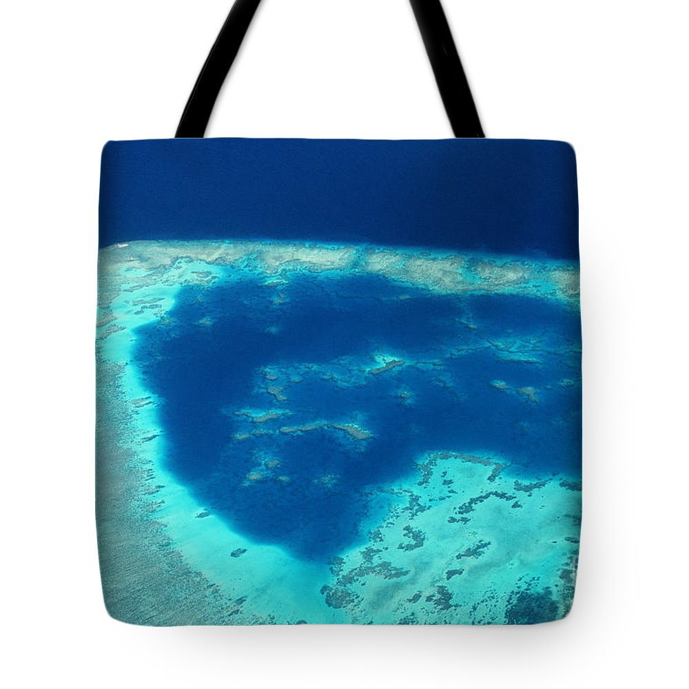 Above Tote Bag featuring the photograph Fiji Aerial by Doug Cameron - Printscapes
