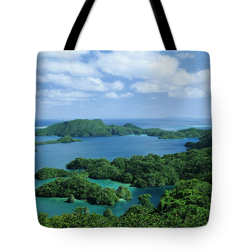 Aerial Tote Bag featuring the photograph Fiji Vanua Balavu by Larry Dale Gordon - Printscapes
