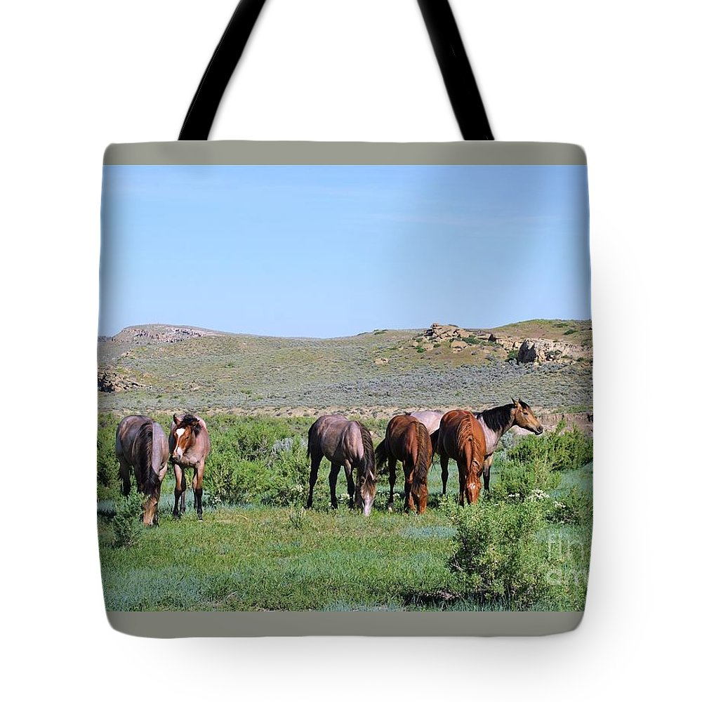Fillies Tote Bag featuring the photograph Fillies Day Out by Merle Grenz
