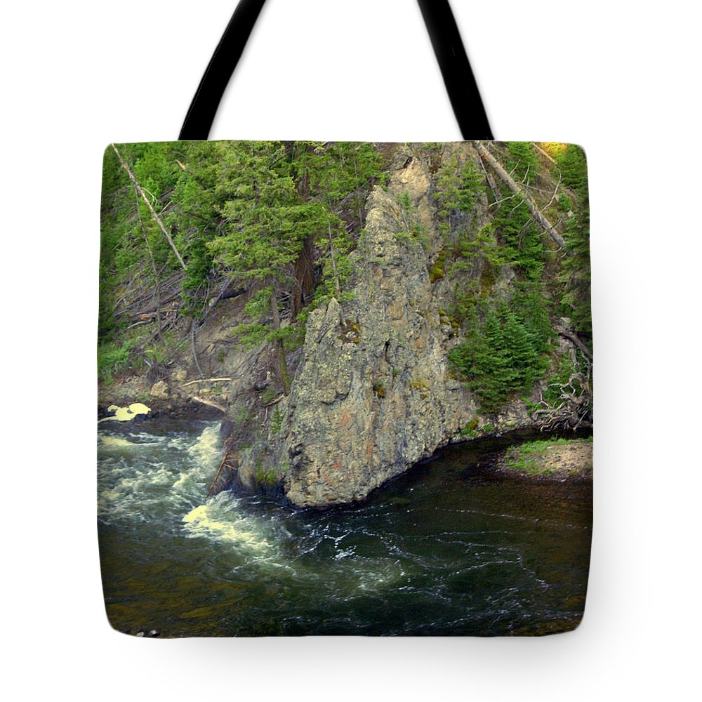 Firehole River Tote Bag featuring the photograph Fin On The Firehole by Marty Koch