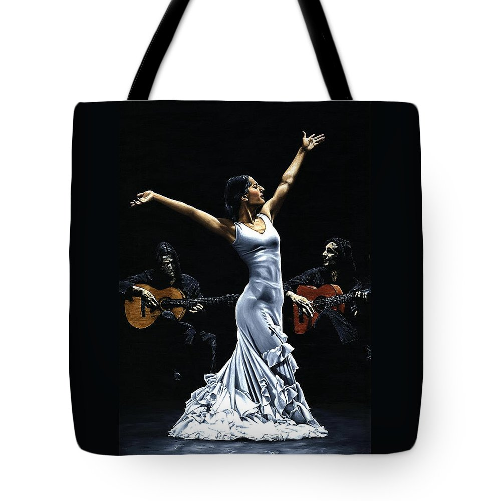 Flamenco Tote Bag featuring the painting Finale del Funcionamiento del Flamenco by Richard Young