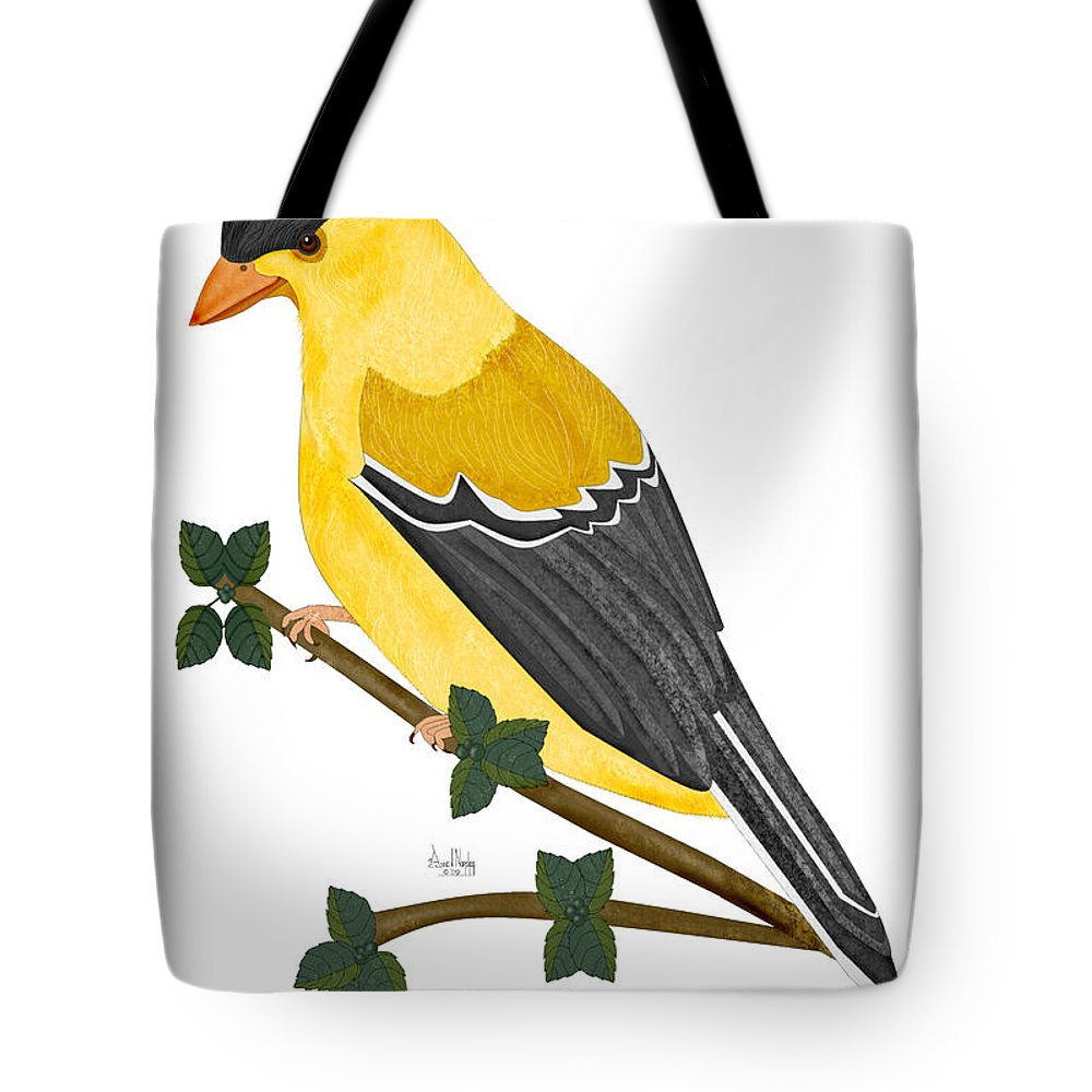Finch Tote Bag featuring the painting Finch In 2009 by Anne Norskog