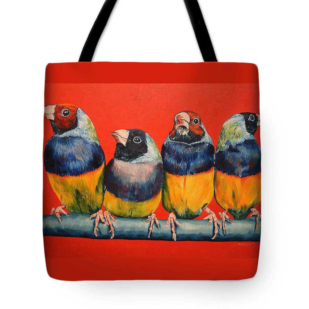 Birds Tote Bag featuring the painting Finches by Debbie Sampson