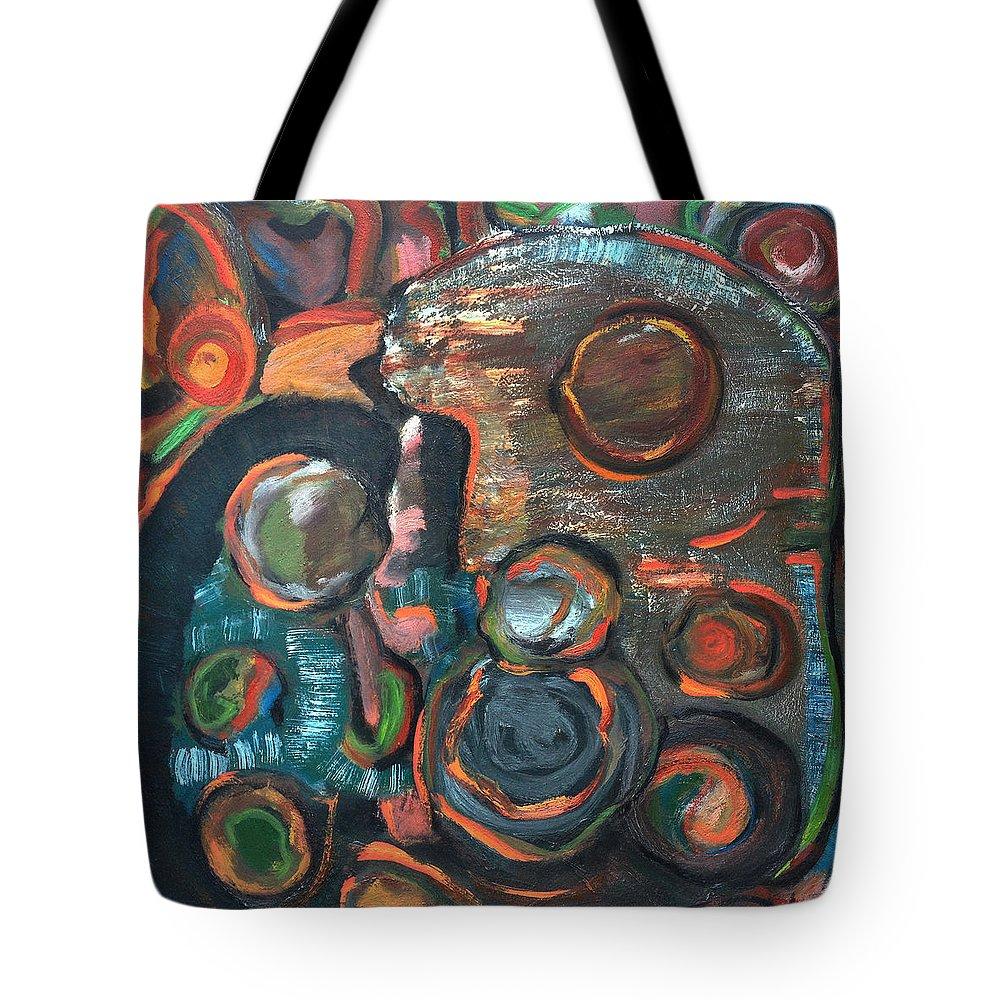 Katt Yanda Original Art Abstract Oil Painting Canvas Finding Balances Circles Peace Tote Bag featuring the painting Finding Balance by Katt Yanda