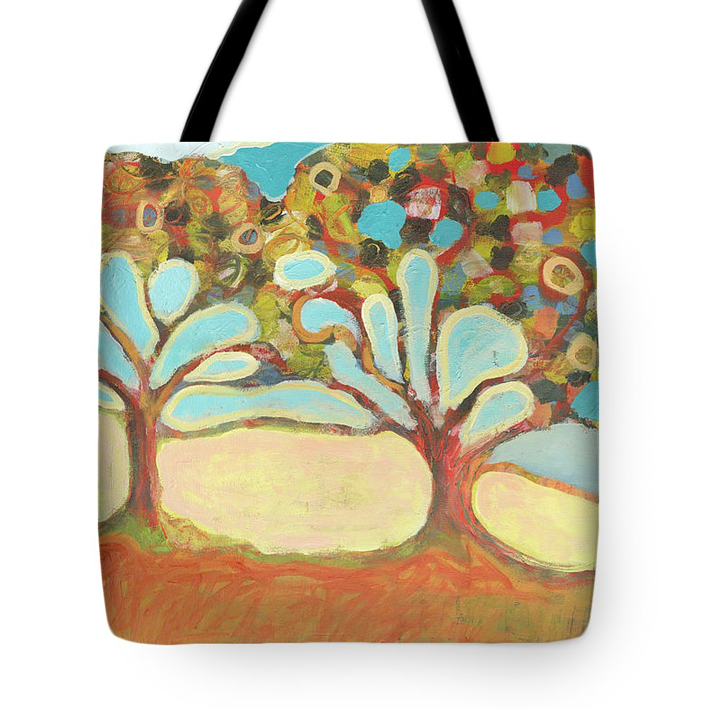 Tree Tote Bag featuring the painting Finding Strength Together by Jennifer Lommers