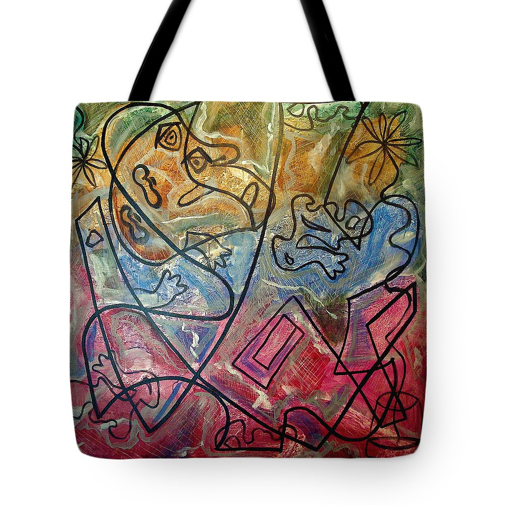 Modern Abstract Tote Bag featuring the painting Finding Sun by W Todd Durrance