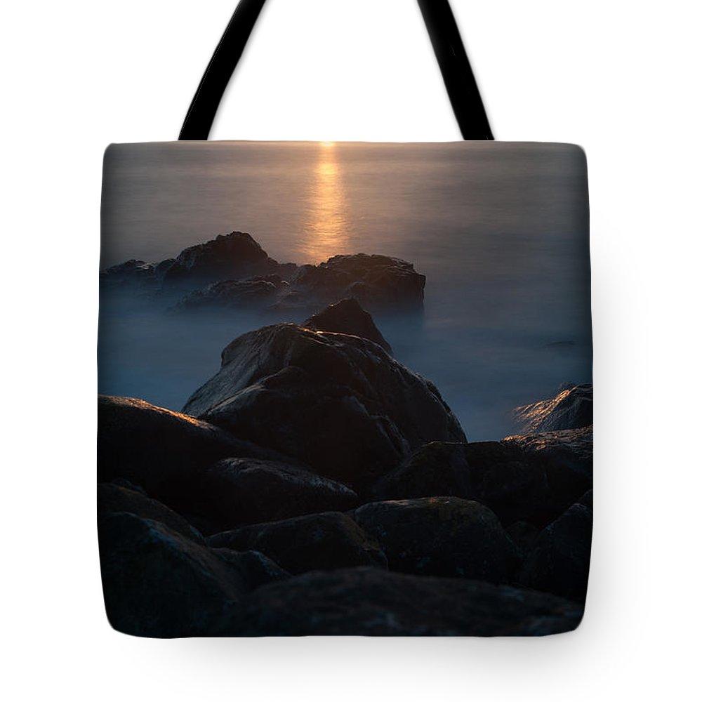 Fine Art By Phill Potter- Sunset Rocks Tote Bag featuring the photograph Fine Art- Sunset Rocks by Jenny Potter