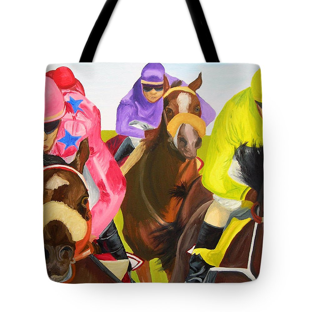 Horse Racing Tote Bag featuring the painting Finish Line by Michael Lee
