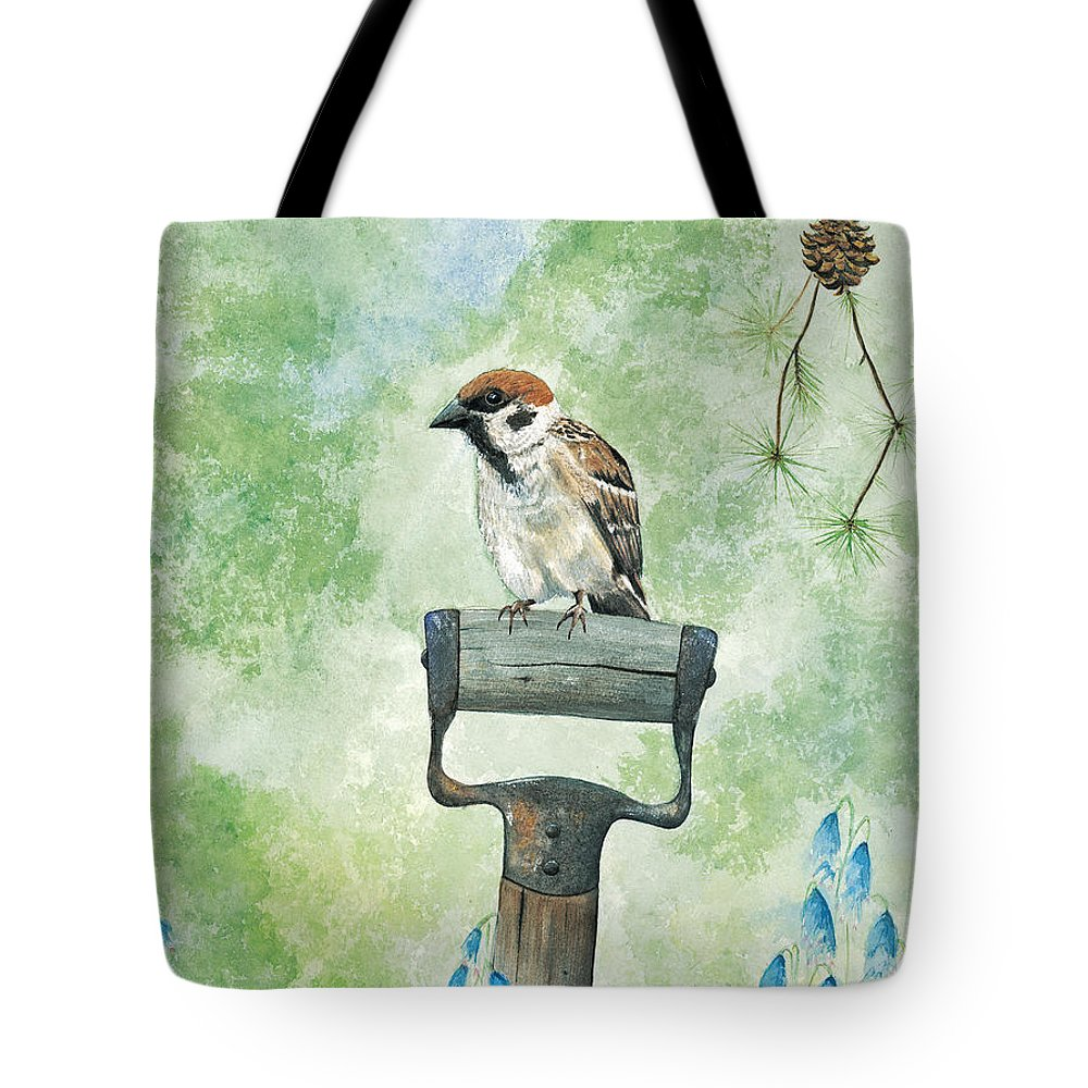 Bird Tote Bag featuring the painting Finnish Dotted Cheek Sparrow by Mary Tuomi