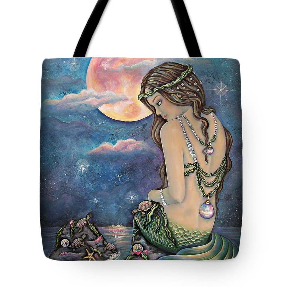 Mermaid Tote Bag featuring the painting Fiona by Christine Bowman