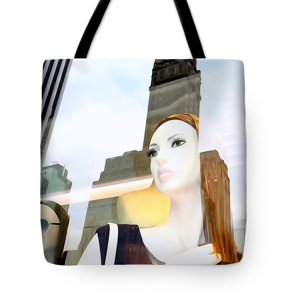 Mannequins Tote Bag featuring the photograph Fiona On 58th St by Ed Weidman