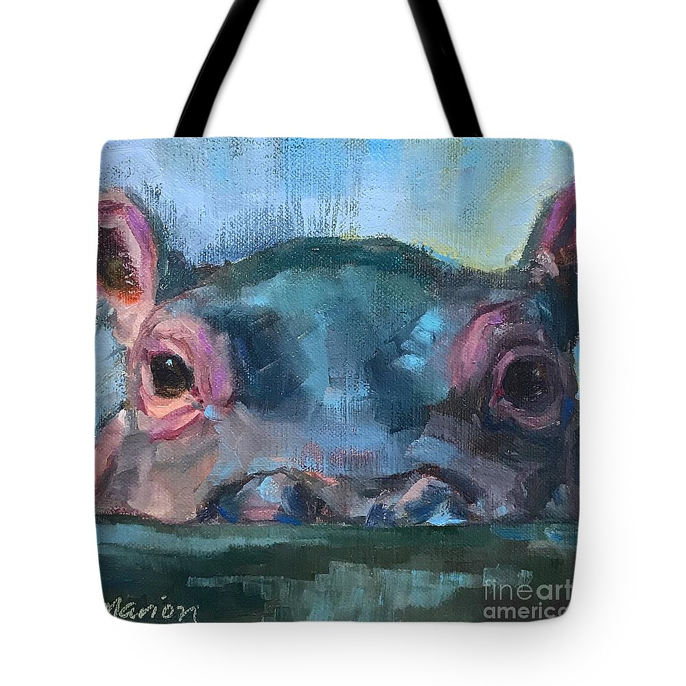 Hippo Tote Bag featuring the painting Fionahippo by Marion Corbin Mayer