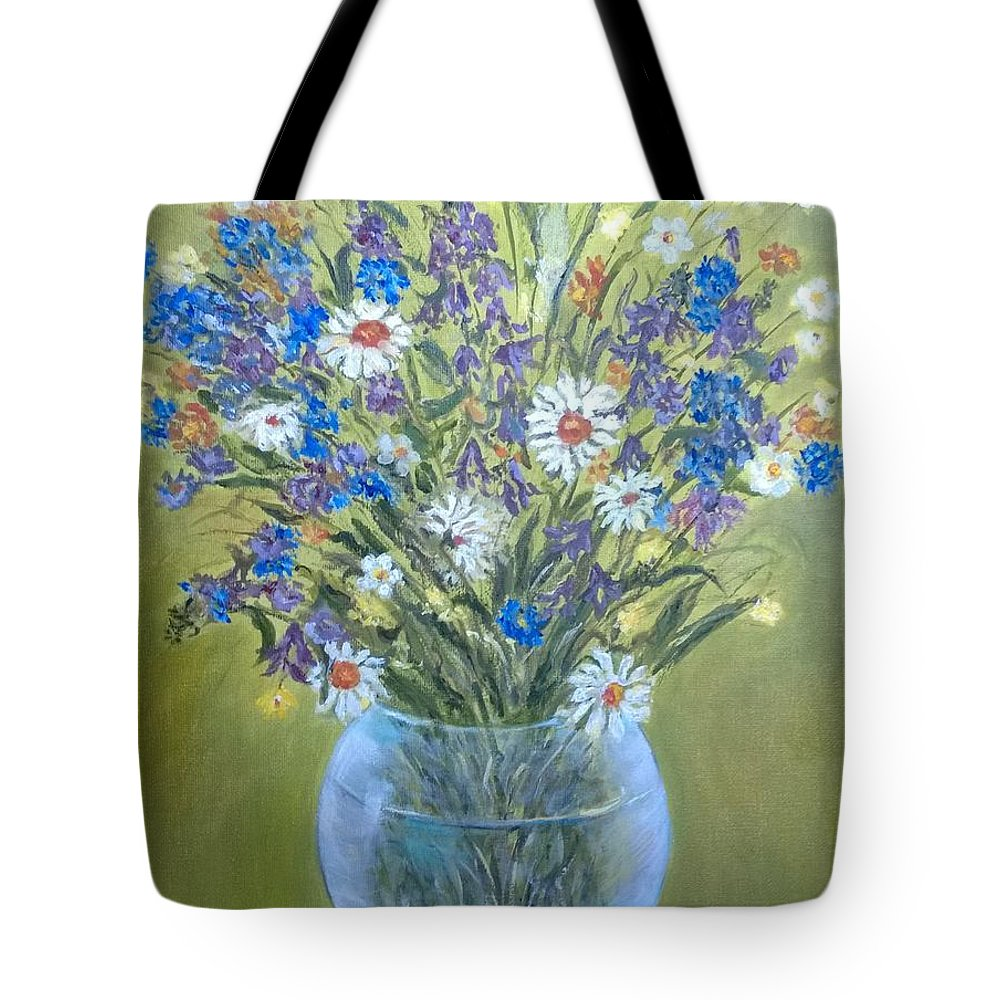 Field Flowers Tote Bag featuring the painting Field Flowers In A Transparent Jug by Katia Iourashevich Ricci