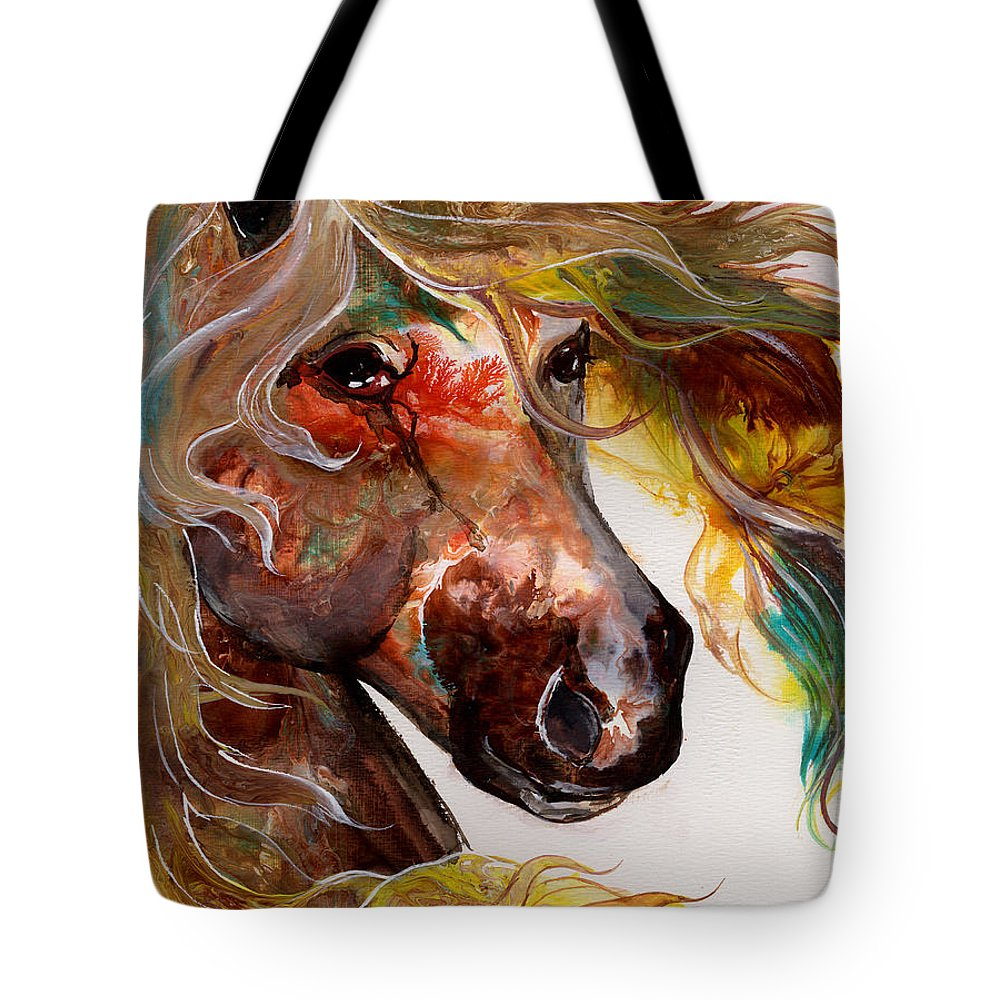 Horse Tote Bag featuring the painting Fire Agate by Sherry Shipley