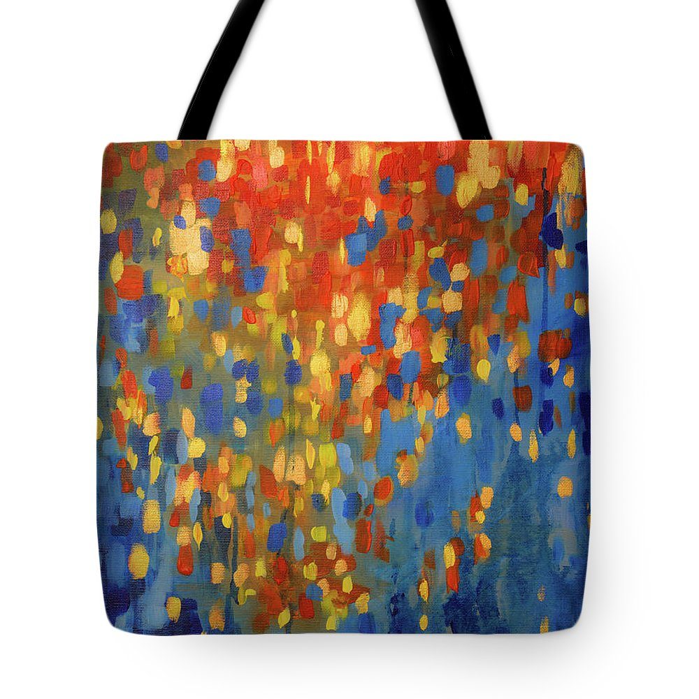Abstract Tote Bag featuring the painting Fire And Flood by Dinah Rau