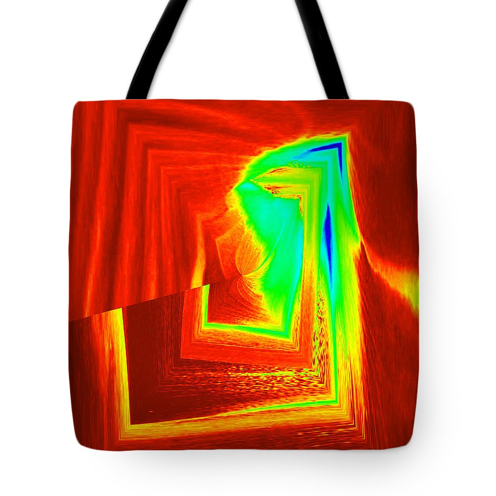 Abstract Tote Bag featuring the digital art Fire And Ice by Donna Bentley