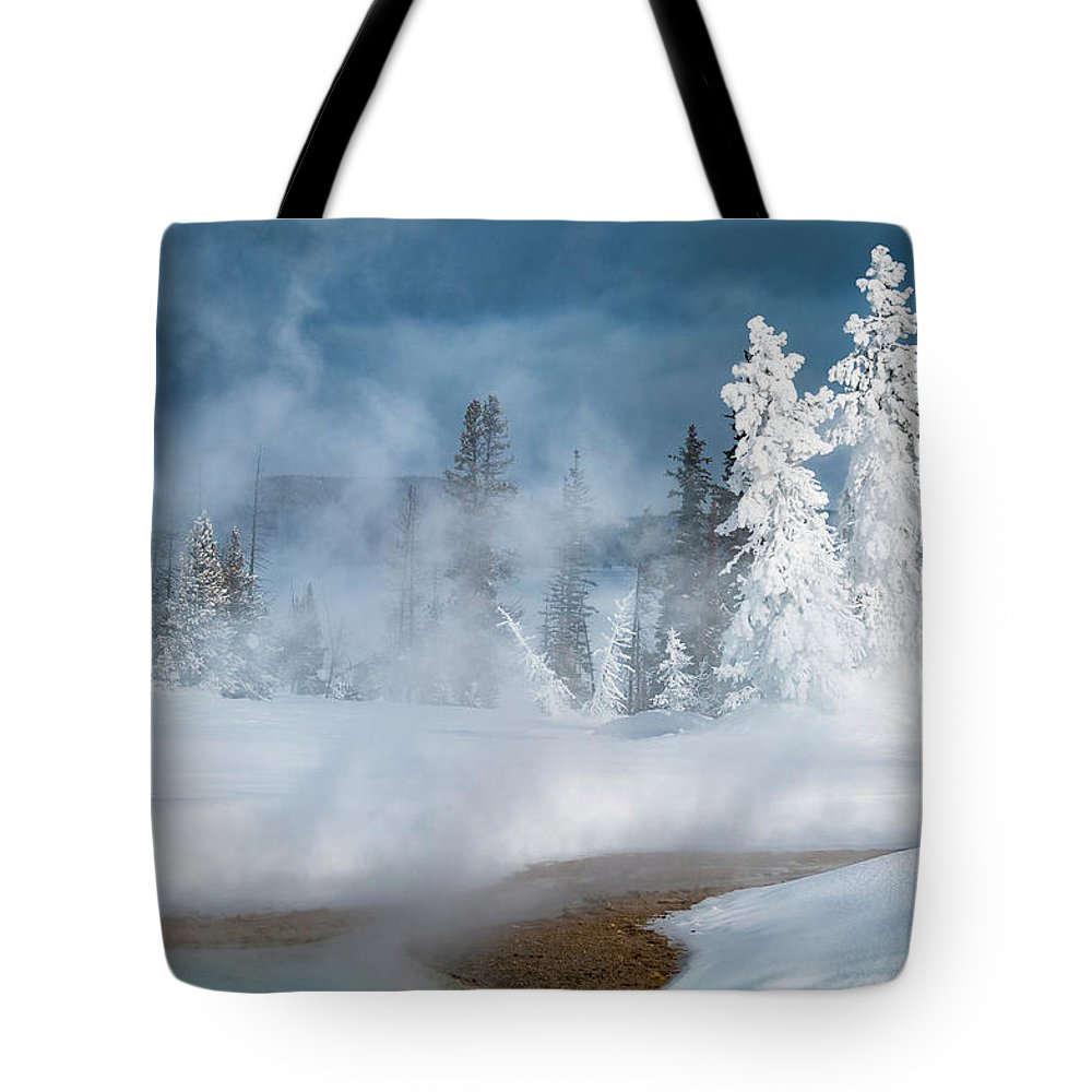 Yellowstone Tote Bag featuring the photograph Fire And Ice by Gary Lengyel