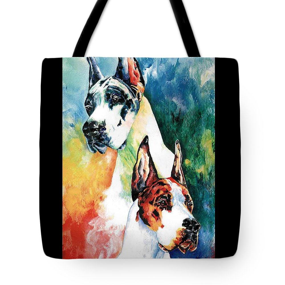 Great Dane Tote Bag featuring the painting Fire And Ice by Kathleen Sepulveda