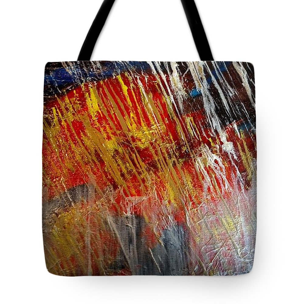 Abstract Tote Bag featuring the painting Fire And Ice by Lori Jacobus-Crawford