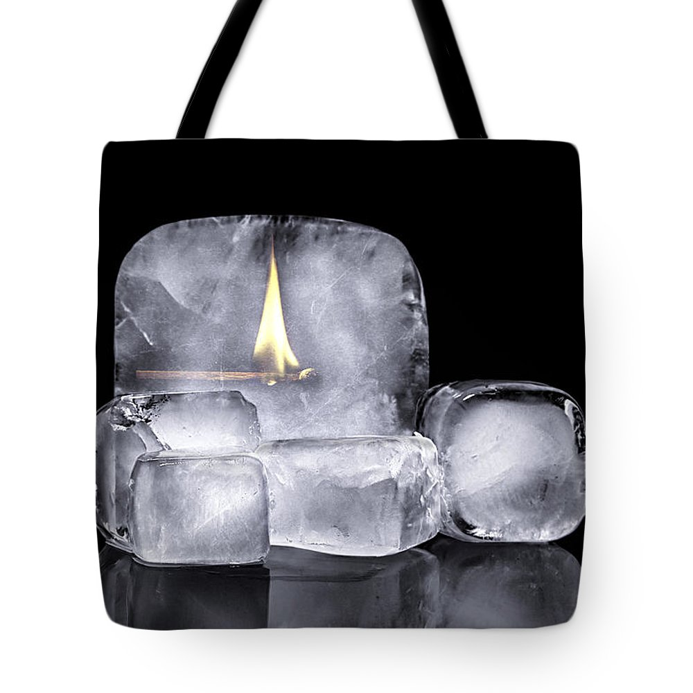 Adversity Tote Bag featuring the photograph Fire And Ice by Tom Mc Nemar