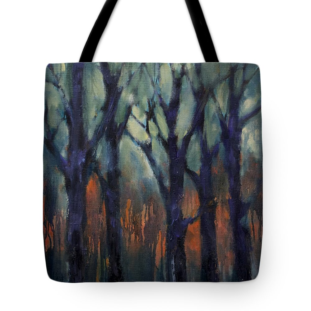 Fire Tote Bag featuring the painting Fire At Sunset by Meridith Martens