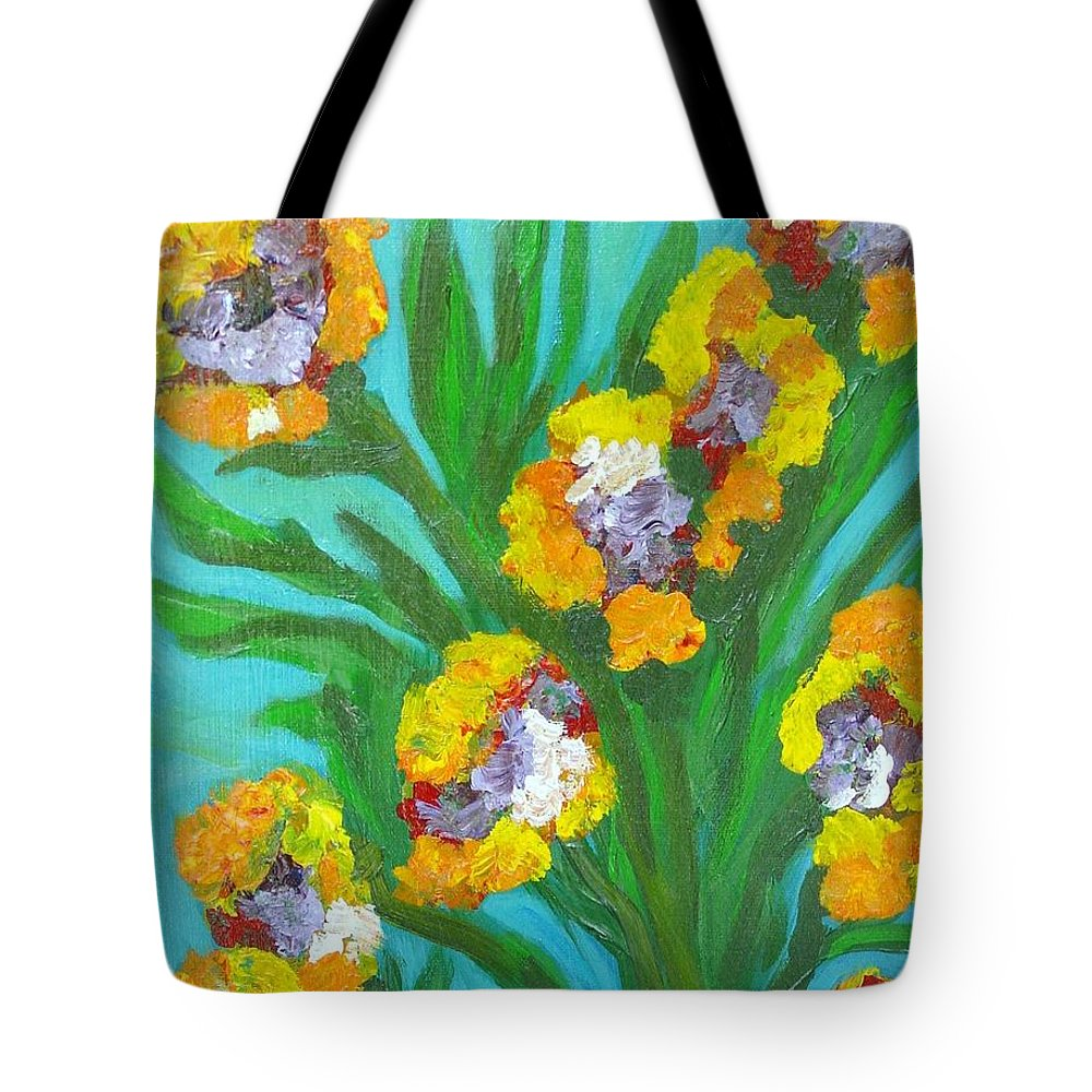 Flower Tote Bag featuring the painting Fire Blossoms by Laurie Morgan